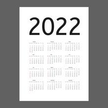 Calendar 2022 Year. Week Starts On Sunday. Vector Calender