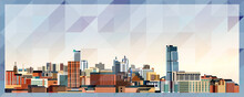 Leeds Skyline Vector Colorful Poster On Beautiful Triangular Texture Background