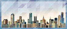 Melbourne Skyline Vector Colorful Poster On Beautiful Triangular Texture Background