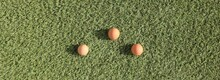 Three Brown Eggs Lying In Green Fresh Grass, Natural Food Concept