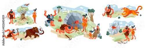 Canvas Print Cavemen in Stone Age set