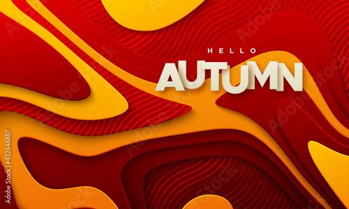 Stampa su Tela Hello autumn paper sign wavy paper cur background with red orange topographic la