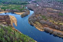 Mountain Altai River Top View Drone, Landscape Altai Tourism Top View