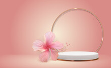 White 3D Pedestal Background With Golden Glass Ring Frame Hibiscus Flower