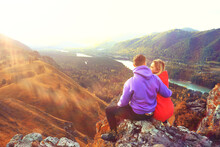 Couple Autumn Altai Lovers Mountains, Active Adventures, Travel Happy Tourism