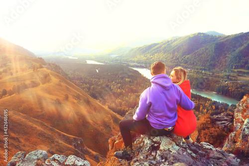 Fotografie, Obraz couple autumn altai lovers mountains, active adventures, travel happy tourism