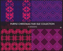 Purple Christmas Fair Isle Seamless Pattern Collection