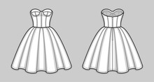 Knee-length Corset Bodice Dress With Strapless Neckline, Panel Lines And Cups, Seam At Waist, Back Zip Closure, Flared Skirt With Pleats. Back And Front. Technical Flat Sketch. Vector Illustration.