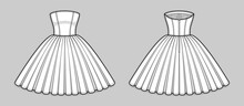 Knee-length Corset Bodice Dress With Strapless Straight Across Neckline, Seam At Waist, Back Zip Closure, Full Volume Skirt. Back And Front. Technical Flat Sketch. Vector Illustration.
