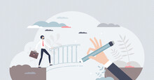 Facilitation And Favor For Obstacle Overcome And Support Tiny Person Concept. Benefits Boost In Difficult Situation And Financial Crisis For Businessman Vector Illustration. Help And Solve Company Gap