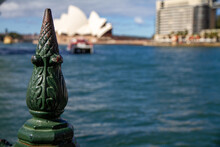 Metal Railing Pole With Sydney Opera House Blurred Into The Background Photo Taken At Circular Quay In Sydney NSW Australia