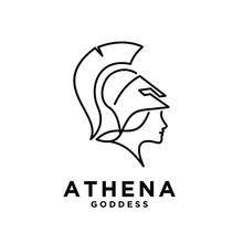 Premium Athena The Goddess Black Vector Icon Line Logo Illustration Design Isolated Background