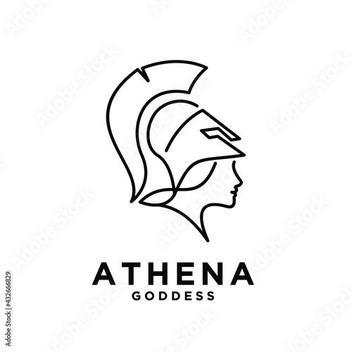 premium Athena the goddess black vector icon line logo illustration design isola Fototapet