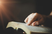 Woman's Hands While Reading The Bible.