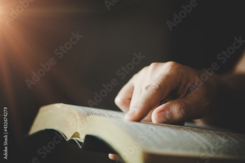 Canvastavla woman's hands while reading the Bible.