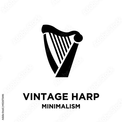 Valokuvatapetti beautiful luxury classic lyre mini harp vector icon flat illustration design iso