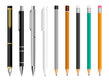 Pen And Pencil Set. Stationery Tools For Drawing And Writing. Office Pens And Pencils. Fountain Pen, Ballpoint Pen And Wooden Pencil. School Writing Items. Vector Illustration.
