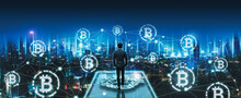Business Man With Crypto Currency Bitcoin On Network City Technology Background