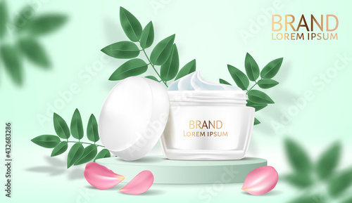 Cosmetics White cream and spray moisturizer hydration. Product packaging mockup. Exotic green leaves background. Detailed design 3d template illustrations. Vector realistic. - fototapety na wymiar
