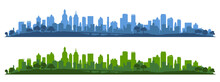 City Silhouette, Cityscapes, Town Panorama - Vector