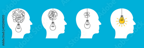 Fototapeta Humans head silhouette psycho therapy concept, light bulb idea and scribbles, brainstorming, therapist and patient, brain with tangled knot and order in man head, mental problem solving - vector obraz
