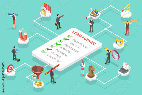 3D Isometric Flat Vector Conceptual Illustration of Lead Generation Marketing Strategy. Process of Conversion Rate Optimization and Generating Business Leads - fototapety na wymiar