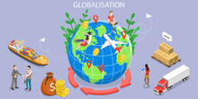 3D Isometric Flat Vector Conceptual Illustration Of International Trade, Globalization And Economic Interdependence, International Business Network Relationships