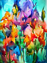 Abstract Bright Colored Decorative Background . Floral Pattern Handmade . Beautiful Tender Romantic Bouquet Of Iris Flowers , Made In The Technique Of Watercolors From Nature.