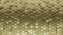 3D, Luxurious Wall Background With Tiles. Polished, Tile Wallpaper With Gold, Hexagonal Blocks. 3D Render