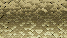 Luxurious, Polished Wall Background With Tiles. Gold, Tile Wallpaper With Arabesque, 3D Blocks. 3D Render