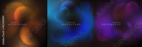 Vector illustration. Blurred wallpaper. Nebula in space. Abstract banner. Dark starry background. Milky Way. Minimalist concept. Cosmic sky. Design element for social media template, web banner