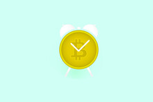 Time Is Money Crypto Currencies With Golden Bitcoin Concept