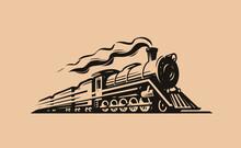 Retro Steam Locomotive Transport Sketch. Train Symbol Vintage Vector Illustration