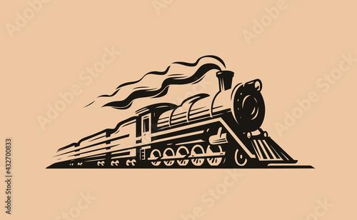 Fotografie, Obraz Retro steam locomotive transport sketch