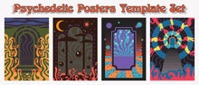 Psychedelic Posters Template Set, 1960s - 1970s Rock Music Covers Backgrounds Stylization