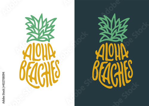 Canvas Print Aloha beaches pineapple lettering quote art