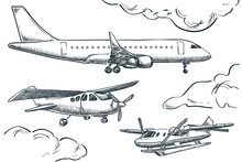 Planes Collection, Vector Sketch Illustration. Seaplane, Hydroplane And Tourist Plane Isolated On White Background