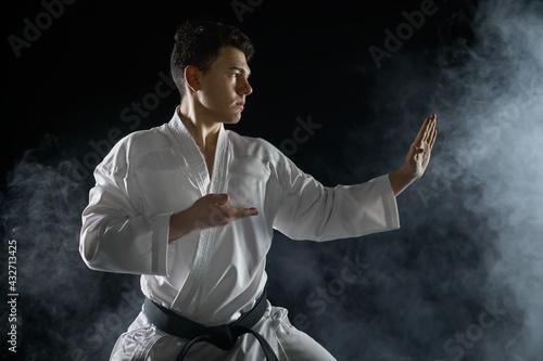 Murais de parede Male karate fighter in white kimono, combat stance
