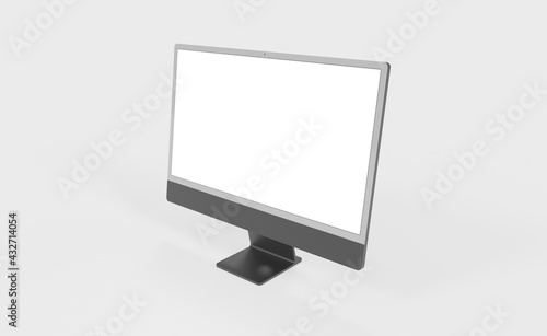 Fototapeta Realistic 3D new display imac Computer, with a white screen, isolated on a background obraz
