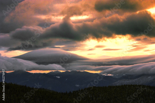 moutains view, picturesque evening meadow on slope of mountain on background of valley and wonderful sunset dramatic sky, scenic nature scene, Great smky mountains national park