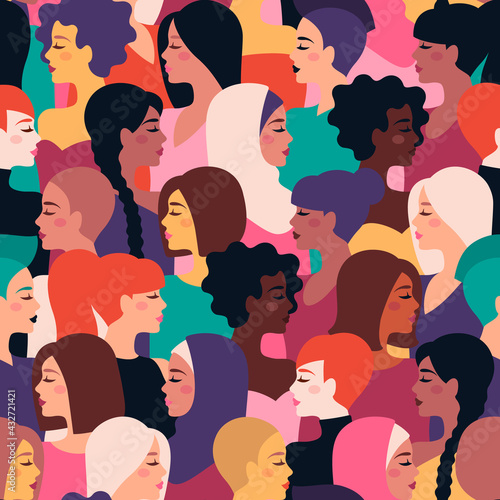 Different nationality, ethnicity and hairstyle girls seamless pattern. Vector illustration. International Womens Day, Happy Mother's day colorful background. Cute ladies faces, female characters - fototapety na wymiar