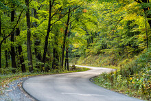 Autumn Fall Season Green Tree Forest In West Virginia With Winding Steep Paved Road To Spruce Knob Lake, Overlooks And Hiking Trails With Nobody Landscape Car Pov
