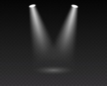Stage Spotlight: Two Realistic Beam Of Light Projector Illumination For Scene, Presentation Or Event