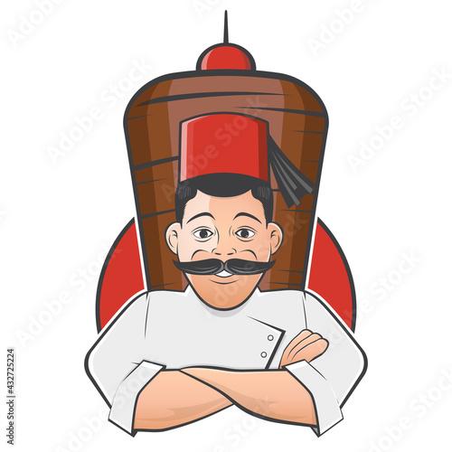 Fototapeta funny cartoon doner logo illustration obraz