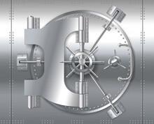 Bank Safe Vault Door, Realistic Metal Steel Round Gate Mechanism To Bunker Room