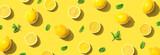 Fototapeta Kawa jest smaczna - Fresh yellow lemons with mints overhead view