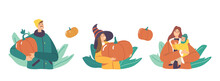 Set Happy Family Picking Pumpkins At Autumn Garden. Mother, Father And Children Characters Harvesting Ripe Plants