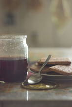 Jar Of Charry-strawberry Jam With Cookies. Morning Still-life. Pleasant Pastel Colors, Soft Light. Good Illlustration For Postcard, Journal, Book.