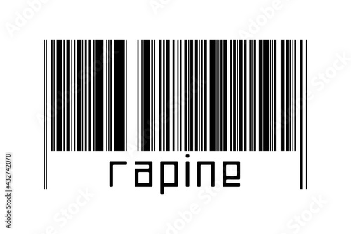 Valokuva Barcode on white background with inscription rapine below