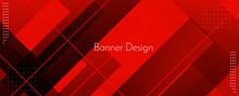 Modern Stylish Red Abstract Geometric Elegant Banner Pattern Background